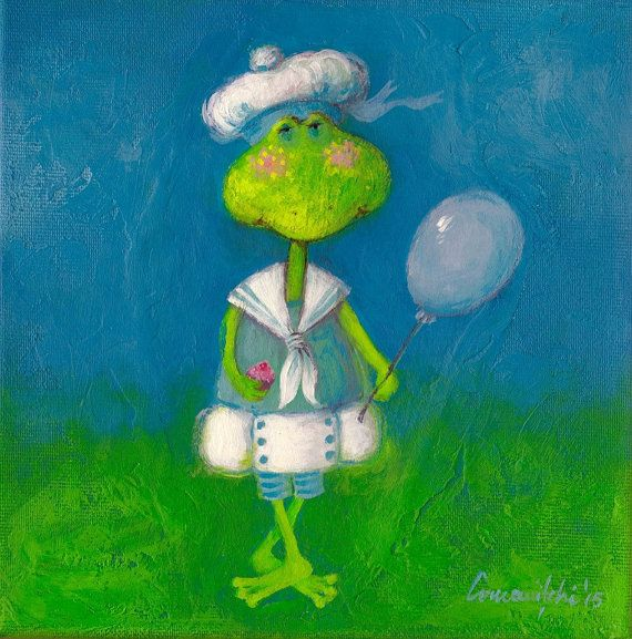 Original Whimsical Frog Painting Acrylic on Stretched Canvas