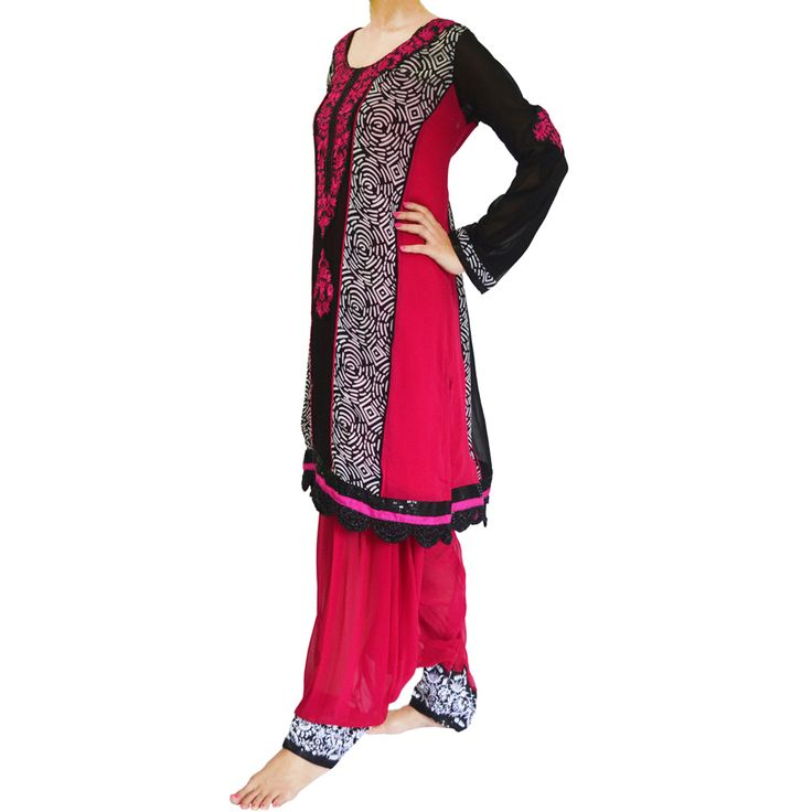 Traditional Delight: Georgette Punjabi suit with a layered Patiala salwar!  Ready to ship! SHOP @ https://www.studiokairi.com/product.php?product=kairi263