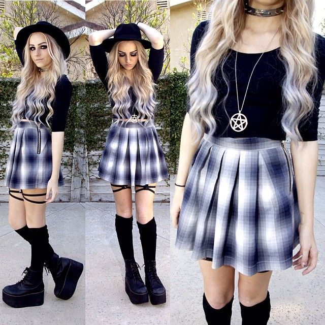Love the white/blue pattern with the black top and the high waisted skirt!