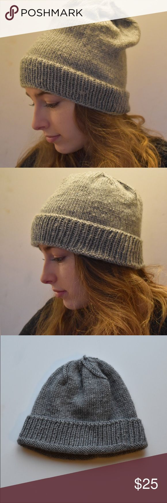 Handmade convertible beanie hat Handmade tight knit convertible beanie with fold up rib knit brim for two different looks.   Made with light grey heathered soft 100% acrylic yarn  Machine wash gentle, lay flat to dry Accessories Hats
