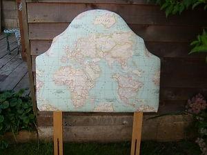 Single Headboard World Map Fabric Newly Reupholstered | eBay