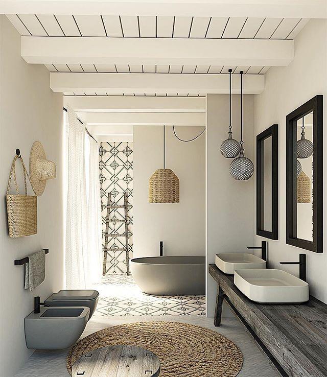 Cores claras e um toque Mediterrâneo no banheiro da Cielo. #banheiro #Cielo #estilomediterraneo