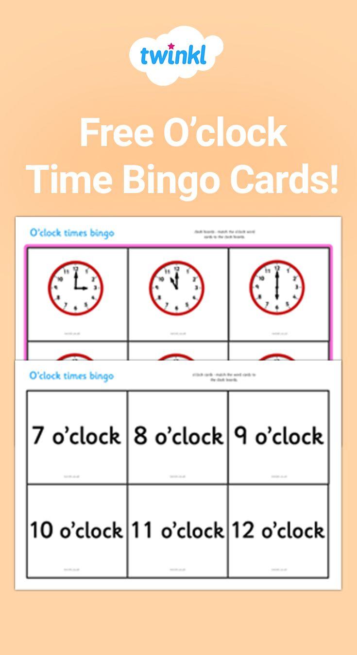 O Clock Time Bingo Bingo Cards Teaching Mathematics Math Time [ 1350 x 735 Pixel ]