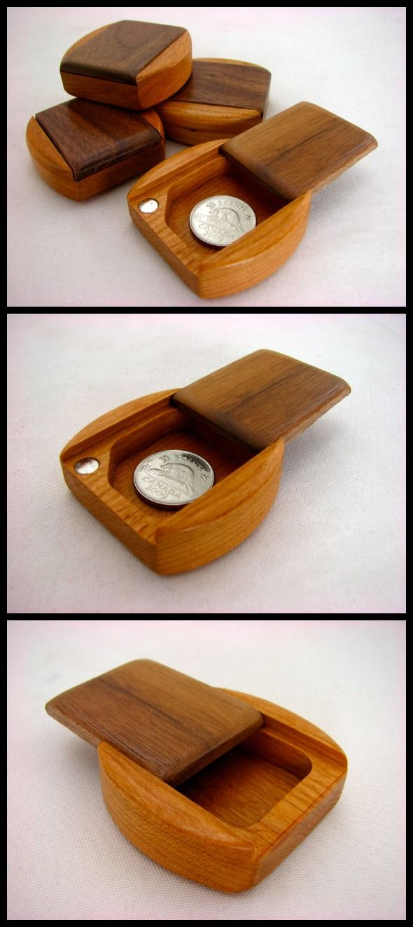 Guitar Pick Box, Solid Walnut Top/Solid Cherry Bottom Wooden Pill Box, Mini Box, Paul Szewc www.etsy.com/shop/PaulSzewc