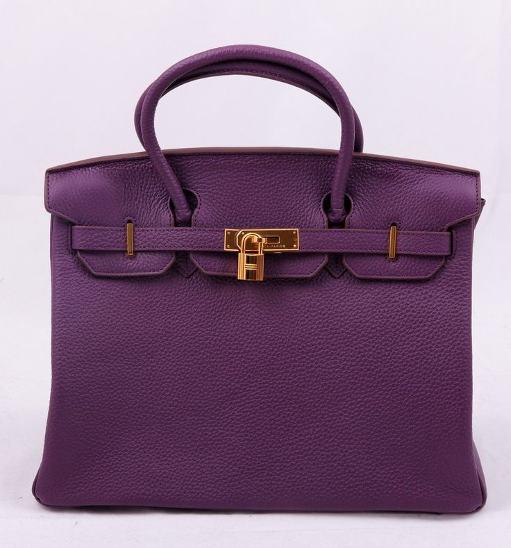 Кожаная сумка Эрмес Биркин (Hermes Birkin) фиолетового цвета с золотой фурнитурой. Размер 35х25х18см #19400