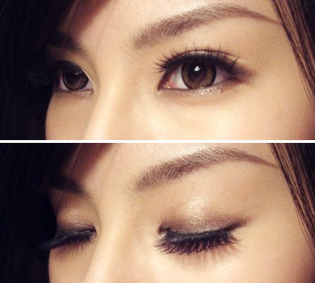 Absolutely love her eye makeup!  She used... Benefit's Lemon Aid,  M.A.C. paint pot in Bare Study, eye shadow in Hey, Satin Taupe, Smut, & eye kohl in Smolder. Dejavu Fiberwig mascara & Shu Uemura fake eyelashes in Luxe Black.