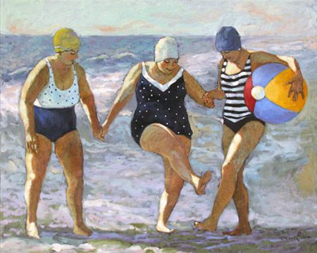 Coastal Water Dance - Big Ladies on the Beach Artwork