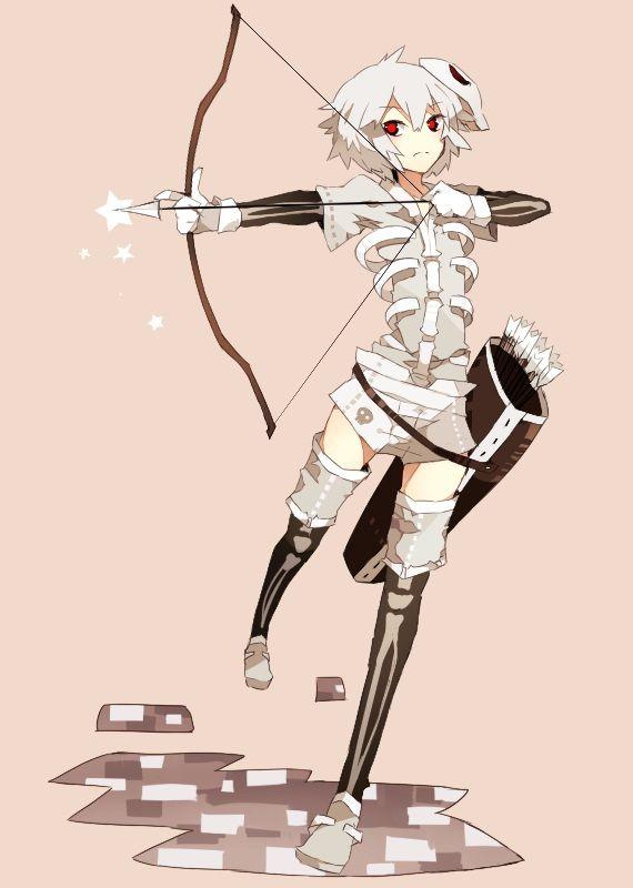 Minecraft Skeleton anime style