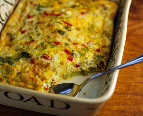 Breakfast, lunch or supper: egg and cheese casserole with broccoli and ...
