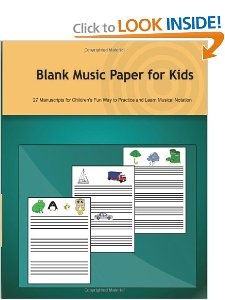 Blank Music Paper for Kids from three to nine years old!