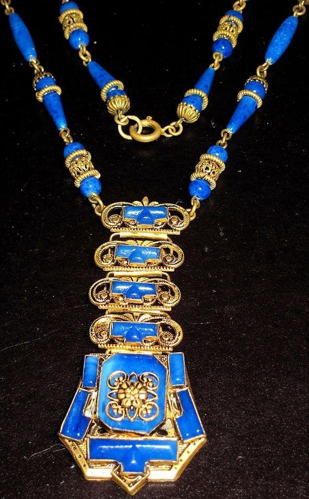 Art Deco Gorgeous Lapis Blue Glass Czechoslovakia Necklace