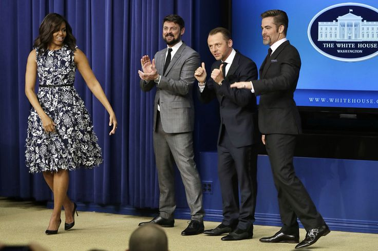 First Lady Of The United States  #MichelleObama Screens New Star Trek Movie – and Ogles 'Handsome' Stars – with Military Families  On Wednesday, July 20, 2016 Star Trek Beyond stars boldly went where no Star Trek Beyond stars have gone before – to the White House.  First Lady Michelle Obama welcomed actors Chris Pine, Simon Pegg and Karl Urban to 1600 Penn Ave. for a special screening of Star Trek Beyond, the anticipated new installment in the sci-fi film franchise.  The screening, hosted by…