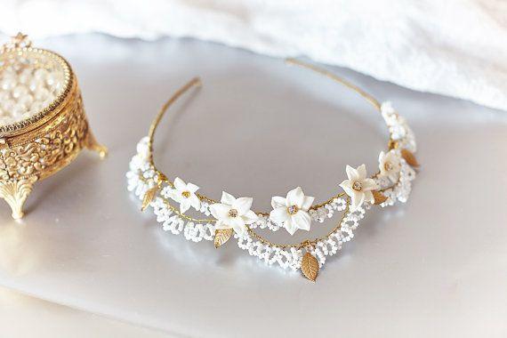 Corona nuziale di Annie copricapo da sposa  di JonidaRipani