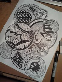 zentangle / círculos / dibujo / blanco y negro
