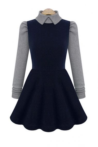 Peter Pan Collar Long Sleeves Dress
