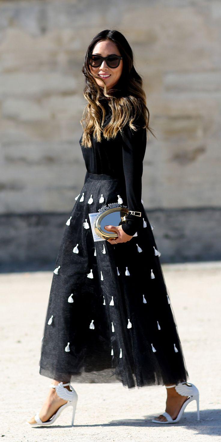 Aimee Song in Sachin & Babi skirt | Paris Fashion Week SS15 Street Style