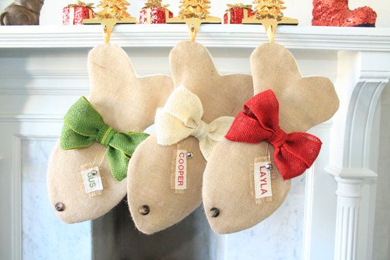 All stockings are made of Burlap with double lining for strength.  3. Bows are made of natural burlap Colors: Red Green Ivory Brown  4. Meas...