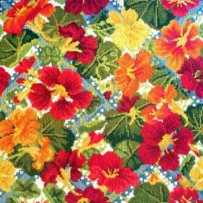 Nasturtium tapestry kit from Elizabeth Bradley. Not the colors I have anywhere in my home ... will have to create a space!