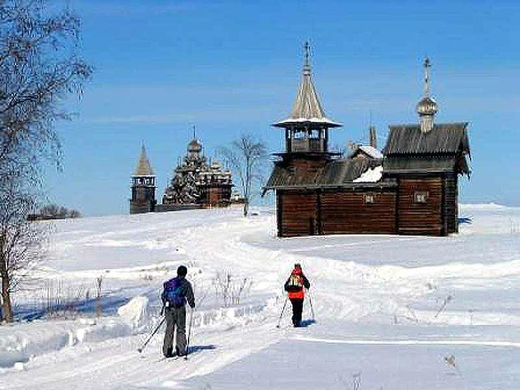 Skiing in Kizhi, Russian North