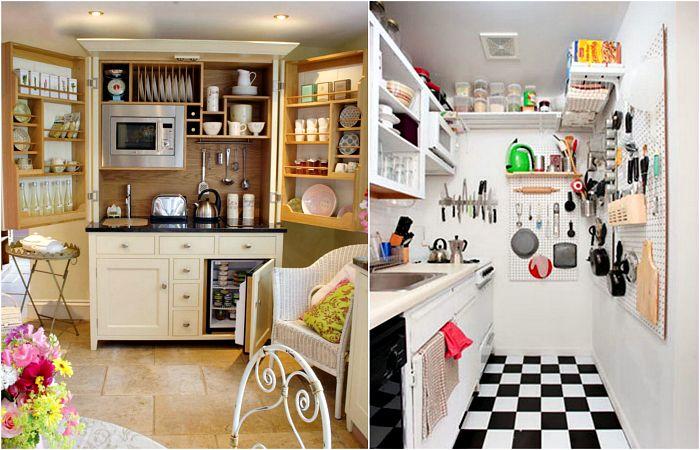 Простые хитрости для обустройства маленькой кухни.
