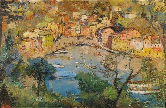 Michele Cascella - Panoramic View of Portofino,...