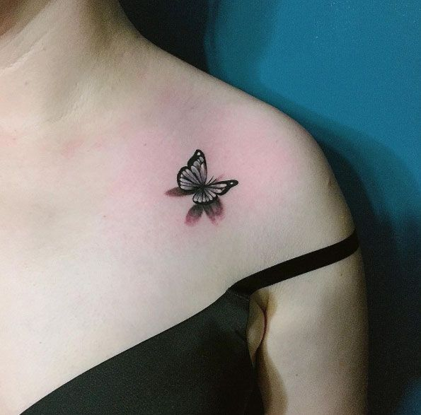 Small Butterfly Tattoo on Shoulder by Chaehwa
