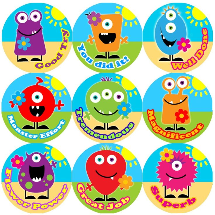 144 monster flowers praise words 30mm childrens reward stickers for teachers or parents