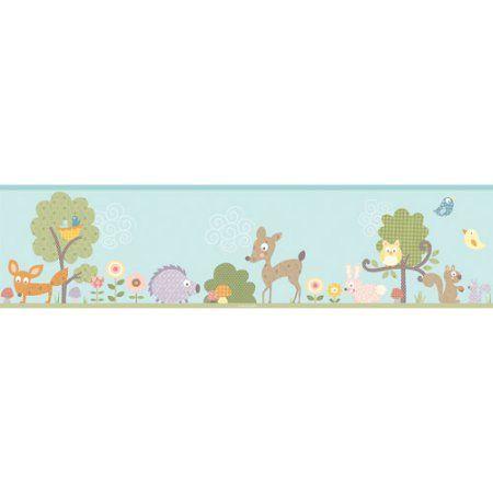 Diego Peel Stick Border Walmart Com Forest Animal Nursery Animal Nursery Wallpaper Border