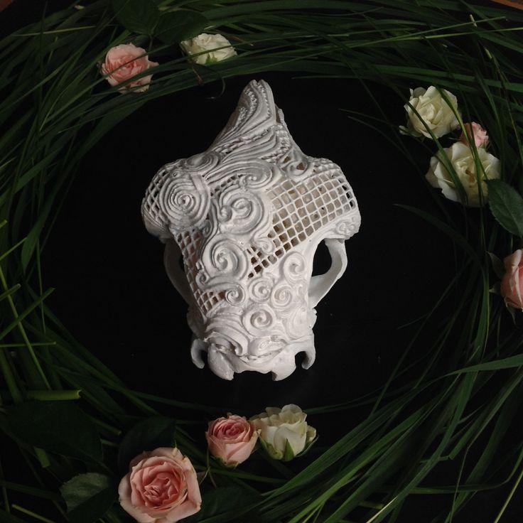 #beautiful #lace #ram #lacetattoo #art #skullcarving #mandala #boneart #mandalatattoo for sale on #etsy #carvedskull #skullart #animalskull #carvedskulls #eclectic #boho #lamp #carvedskulls #lamp #nightlight #tablelamp #gothgoth