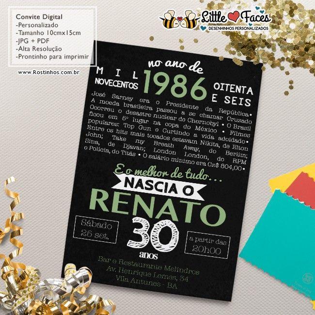 $35.00 Convite Aniversário Fatos Marcantes para imprimir                                                                                                                                                                                 Mais