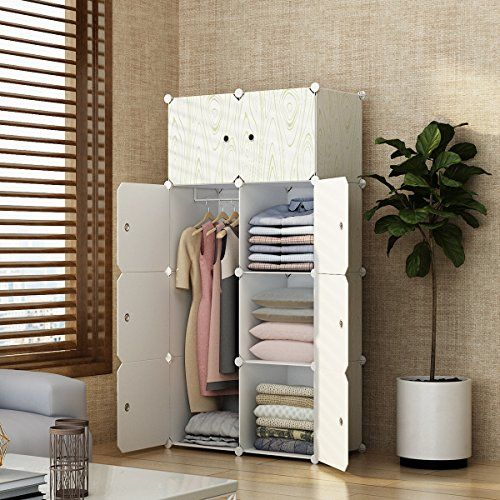 MAGINELS Portable Closet Clothes Wardrobe Bedroom Armoire Storage Organizer with Doors, 5 Cubes & 1 Hanging Section, Wood Grain Pattern #MAGINELS #Portable #Closet #Clothes #Wardrobe #Bedroom #Armoire #Storage #Organizer #with #Doors, #Cubes #Hanging #Section, #Wood #Grain #Pattern