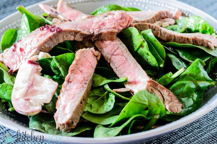 Seared Skirt Steak And Spinach Salad With Red Wine-Shallot ...