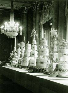 """Queen Elizabeth II's Wedding CAKES.  Talk about a dessert table.  """"The official wedding cake was made by McVitie and Price and stood over 2.5 metres tall. Eleven other cakes were given as presents."""""""