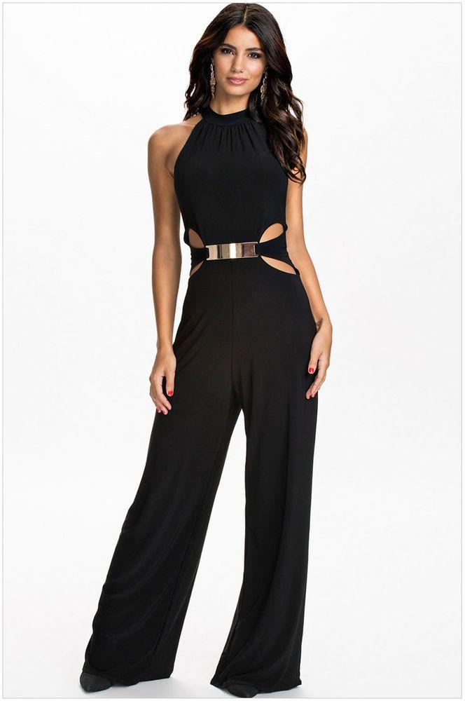 Women Black Sleeveless Jumpsuit Romper Wide Leg Long Pants Trousers Clubwear M #Unbranded #Jumpsuit #CocktailEveningPromPartyClubwear