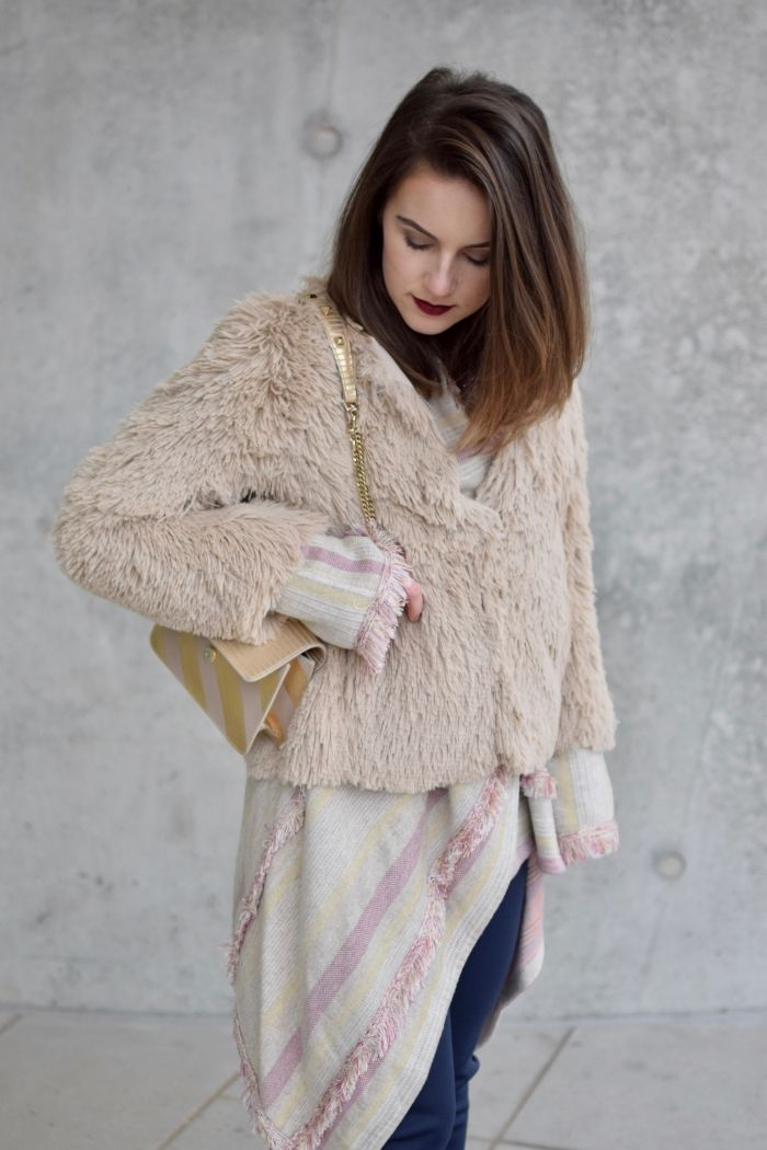 fluffy winter jacket and beige details