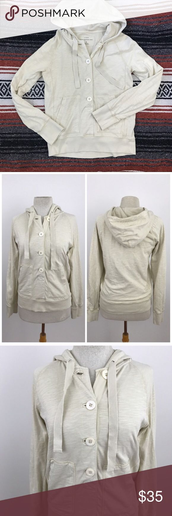"J.Crew Washed Heavyweight Jersey Hooded Sweatshirt Oatmeal colored lined pullover hoodie from J.Crew. Heavyweight jersey fabric. 100% cotton. Perfect for cold nights !  Size small, Sleeve length 31"" Armpit to armpit 19"" Length 23""   **I list on multiple platforms, make me an offer before this listing is gone!**   Now accepting offers on bundles ! One low shipping rate no matter how many pieces are bundled 💕 J. Crew Tops Sweatshirts & Hoodies"