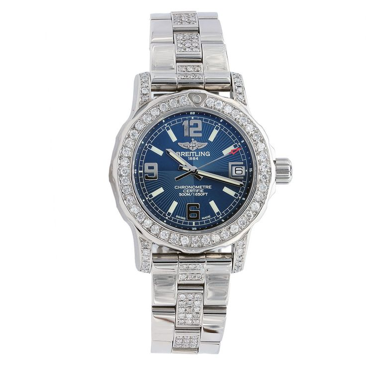 LADIES BREITLING COLT 33 A7738711.C850 BLUE DIAL WITH DIAMONDS Click to find out more -  http://menswomenswatches.com/ladies-breitling-colt-33-a7738711-c850-blue-dial-with-diamonds/