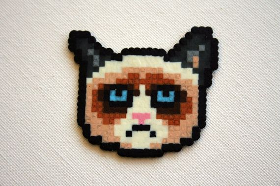 Grumpy Cat Perler Bead Magnet by WhiteMageInc on Etsy