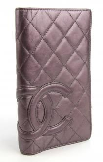 Chanel Cambon Quilted Long Checkbook Wallet In Mettalic Lavender $475