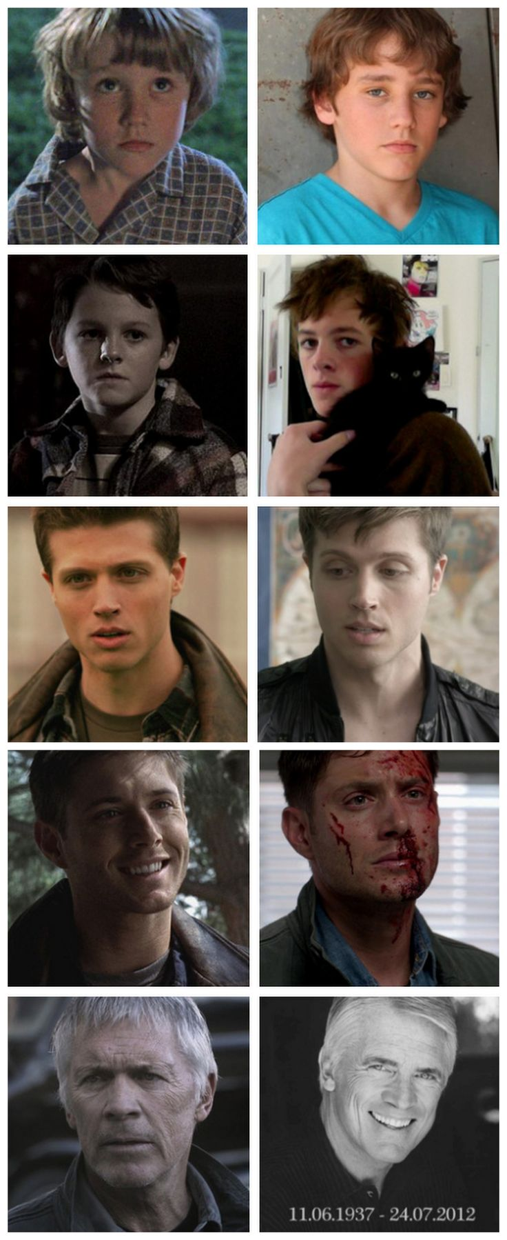 Actors who have played Dean Winchester - Then and Now: Hunter Brochu, Ridge Canipe, Brock Kelly, Jensen Ackles, and Chad Everett (Nicolai Guistra and Dylan Everett were not included?)