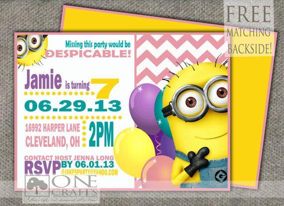 Tarjeta de cumpleaños divertida para fiesta temática Minions. #invitaciones #Minions