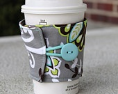 Adjustable Coffee Cup Sleeve - Baby Blue and Tan Flower Coffee Cozy