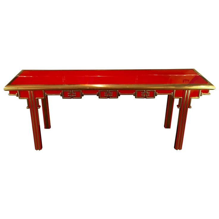 Mastercraft Furniture For Sale #18: Mastercraft Oriental Red Lacquer And Brass Console Table For Sale At 1stdibs