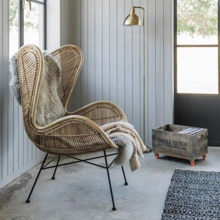 Rattan Wing Chair - Chairs & Armchairs - Chairs - Furniture 	Soren Rattan Chair	 HRM2620	 H.71cm W.67cm D.77cm