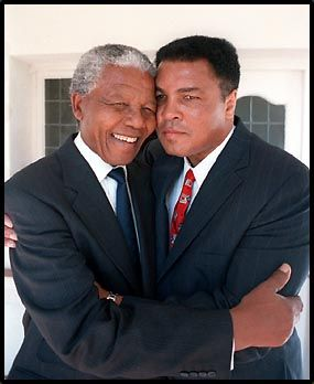 My two biggest heroes. Muhammad Ali and Nelson Mandela by Howard Bingham, 1993: This photo defines greatness