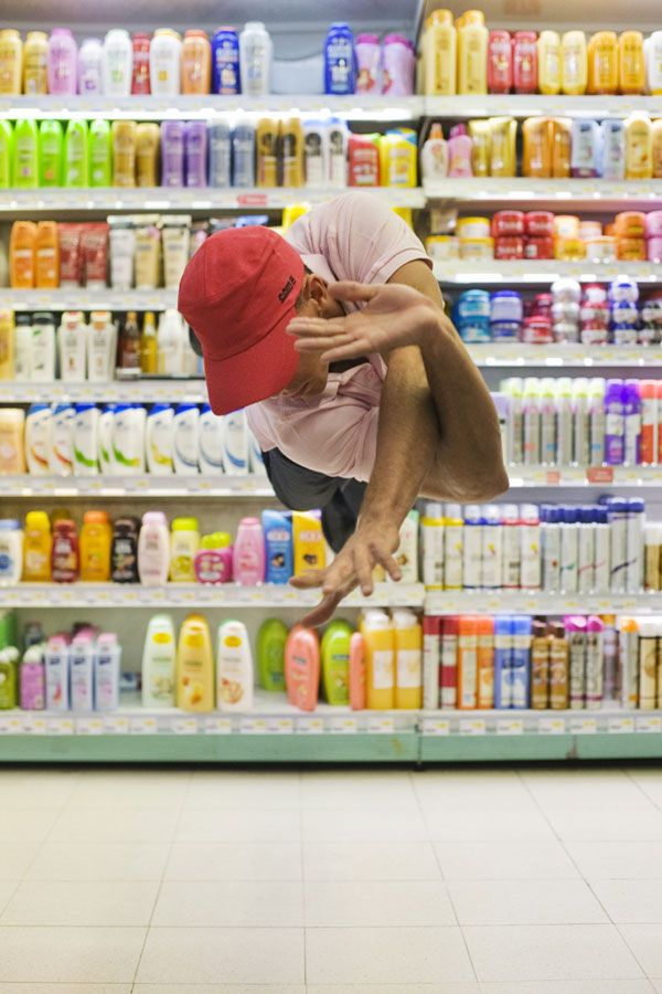 Suspended mid-air in supermarkets, faceless youths bring an otherworldliness to everyday consumerism. French photographer Denis Darzacq's collaboration with Parisian dancers reminds us of the freedom that escaping materialism brings, even when we are left to wonder: Are these figures floating or falling?