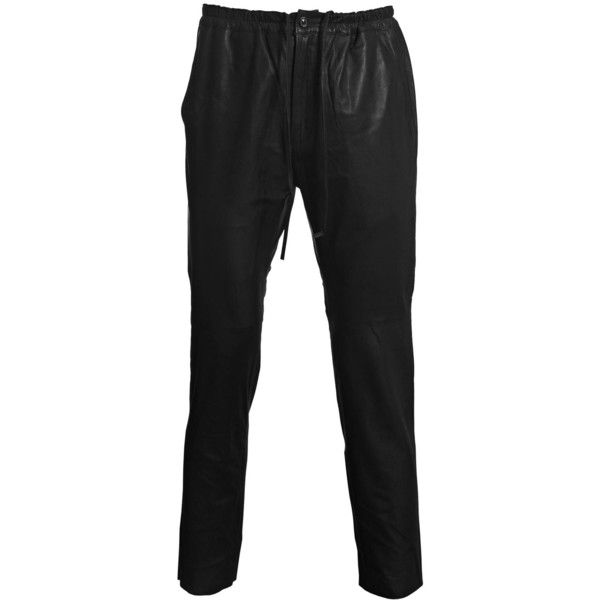 Unused Men's Leather Pants ($275) ❤ liked on Polyvore featuring men's fashion, men's clothing, men's pants, men's casual pants, mens slim fit pants, mens slim leather pants, mens pants, mens elastic waistband pants and mens slim pants
