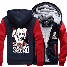 Suicide Squad Harley Quinn Joker Jacket Sweatshirts Thicken Hoodie Coat Cosplay