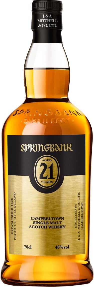 Springbank 21 Year Old Single Malt #Scotch Whisky. Aged for 21 years in used #bourbon casks, this #whisky is bottled without the use of chill filtration. | @Caskers