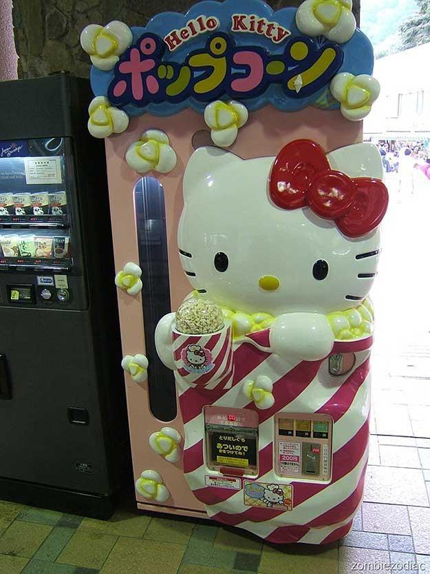 hello kitty popcorn vending machine...oh how I love Japan ...